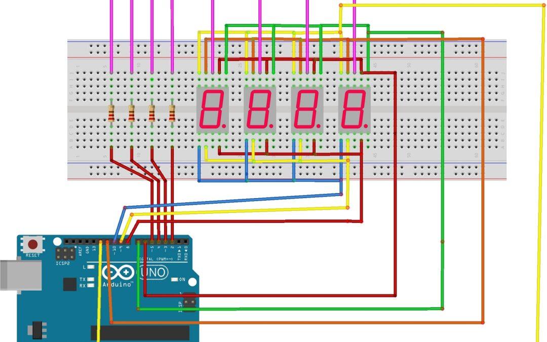 Display de 7 segmentos no Arduino com multiplexação